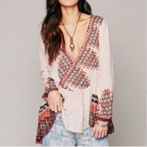 Free People Sheer Long Sleeve Tribal Print Tunic S
